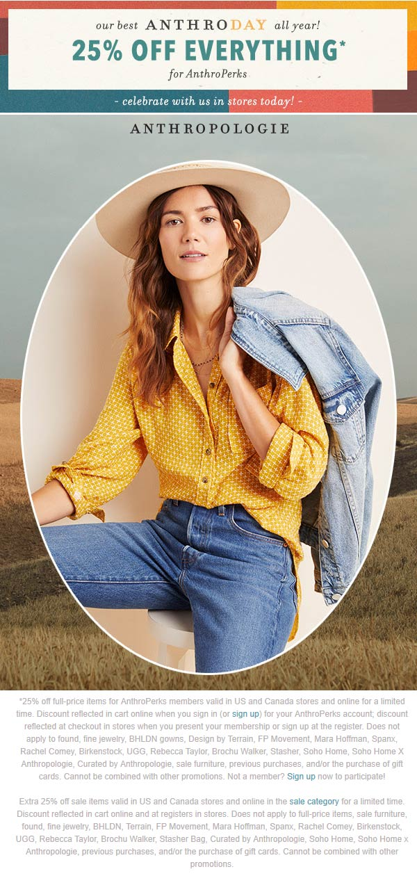Anthropologie Coupon January 2020 25% off at Anthropologie, ditto online