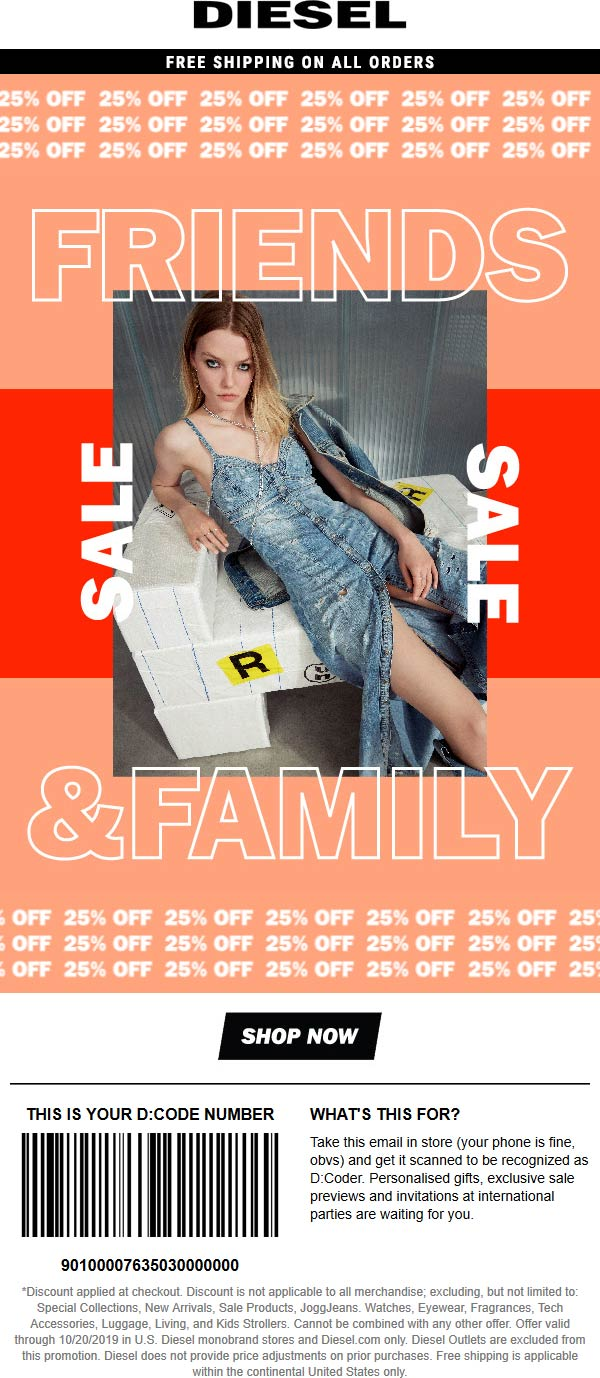 Diesel Coupon November 2019 25% off at Diesel, ditto online