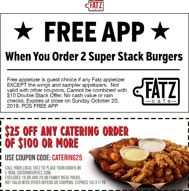 Fatz Cafe Coupon January 2020 Free appetizer with your burgers at Fatz cafe