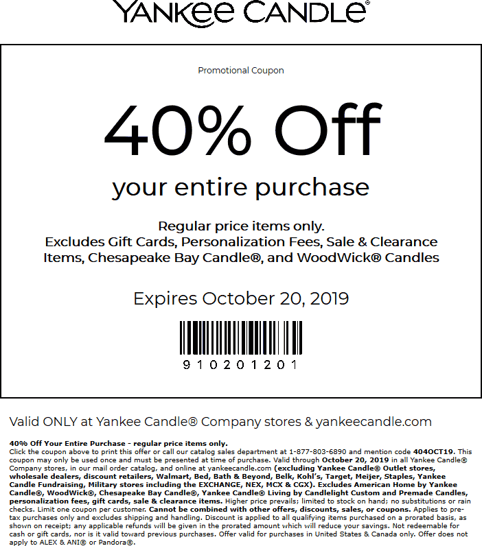 Yankee Candle Coupon January 2020 40% off everything at Yankee Candle, or online via promo 404OCT19