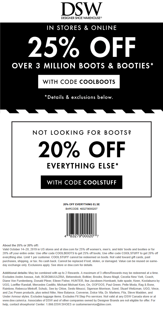 DSW Coupon November 2019 20-25% off today at DSW Shoes, or online via promo code COOLSTUFF