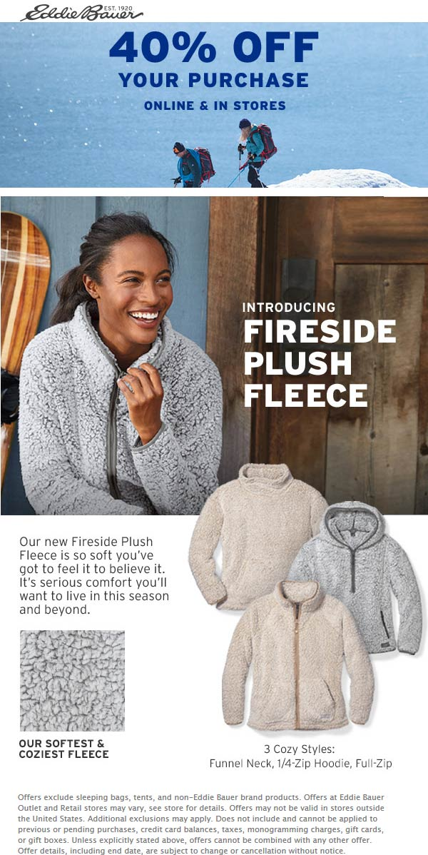 Eddie Bauer Coupon November 2019 40% off at Eddie Bauer, ditto online
