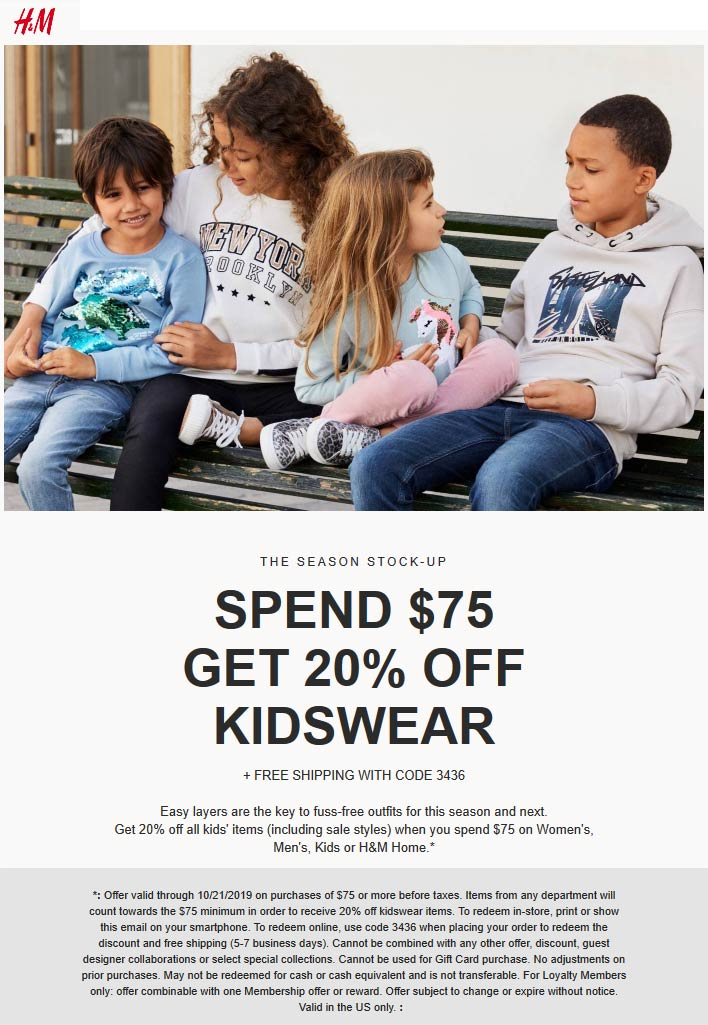 H&M Coupon January 2020 20% off $75 on kidswear at H&M, or online via promo code 3436