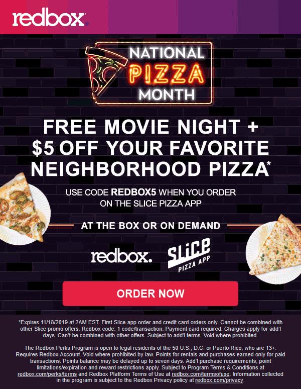 Redbox Coupon November 2019 Free movie + $5 off local pizza via Redbox promo code REDBOX5