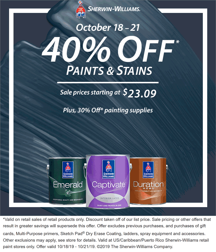 Sherwin Williams Coupon November 2019 40% off paints & stains at Sherwin Williams
