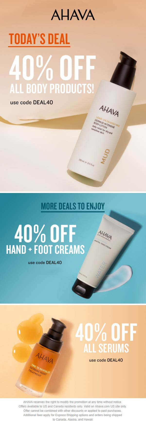 AHAVA Coupon November 2019 40% off all body products today at AHAVA via promo code DEAL40