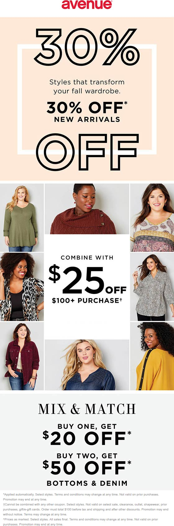 Avenue Coupon November 2019 30% off new styles + another $25 off $100 online at Avenue via promo code FALL25