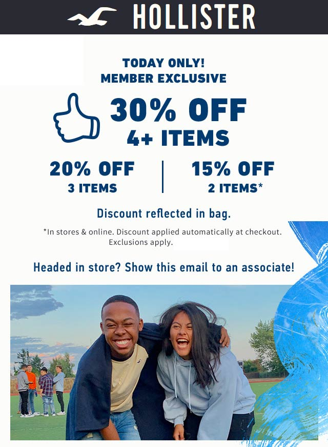 Hollister Coupon November 2019 15-30% off today at Hollister, ditto online