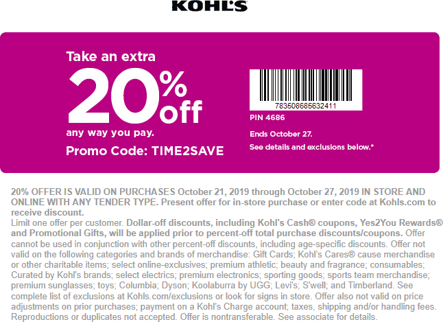 Kohls Coupon January 2020 20% off at Kohls, or online via promo code TIME2SAVE