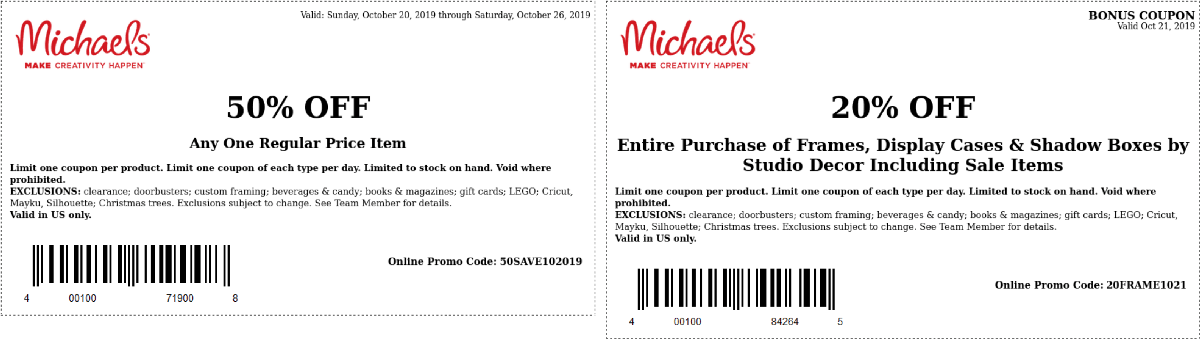 Michaels Coupon November 2019 50% off a single item at Michaels, or online via promo code 50SAVE102019