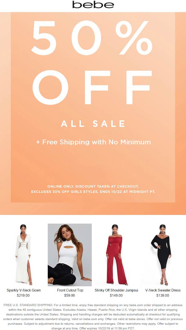 Bebe Coupon January 2020 Extra 50% off sale items online today at bebe