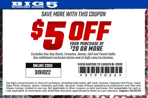 Big 5 Coupon November 2019 $5 off $20 at Big 5 sporting goods, or online via promo code 3191022