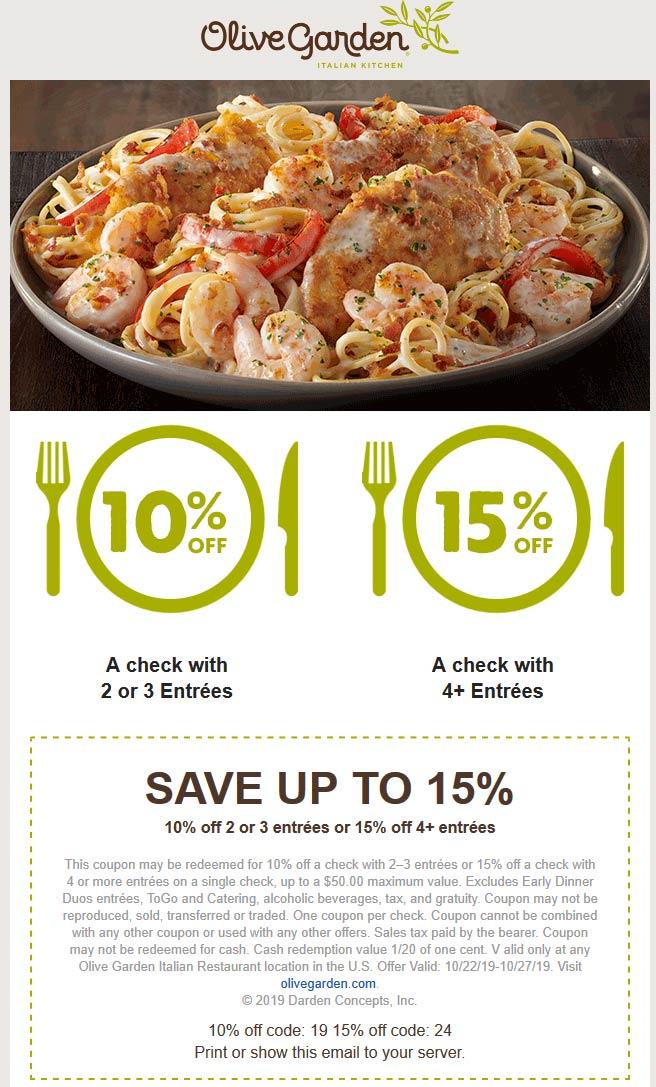 Olive Garden Coupon January 2020 10-15% off at Olive Garden restaurants