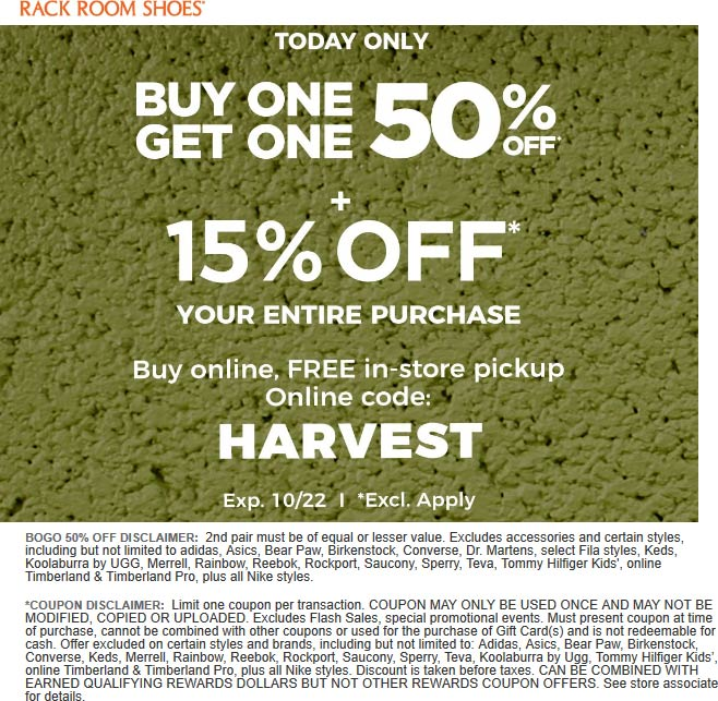 Rack Room Shoes Coupon January 2020 Extra 15% off today at Rack Room Shoes, or online via promo code HARVEST