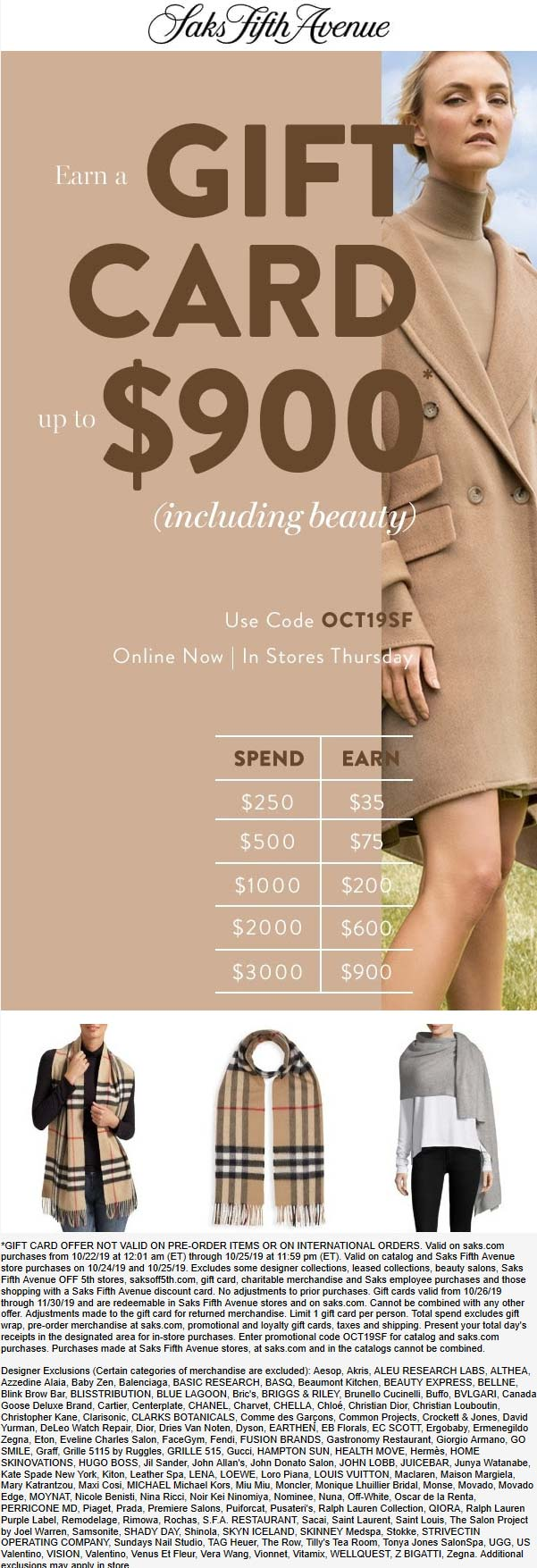 Saks Fifth Avenue Coupon November 2019 $35-$900 off $250+ at Saks Fifth Avenue, or online via promo code OCT19SF