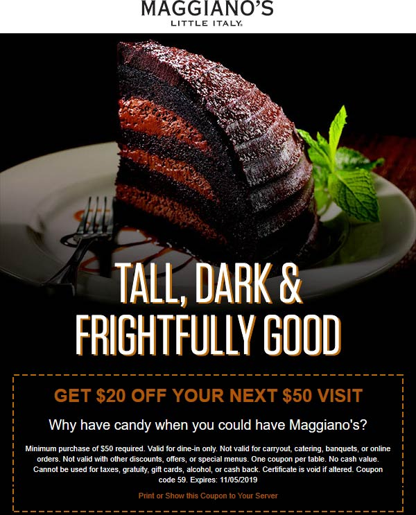 Maggianos Little Italy Coupon November 2019 $20 off $50 at Maggianos Little Italy
