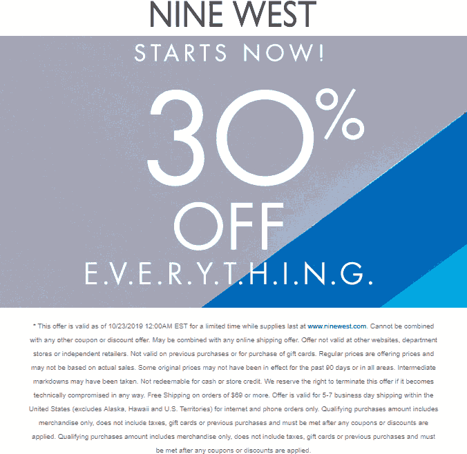 Nine West Coupon January 2020 30% off everything online at Nine West