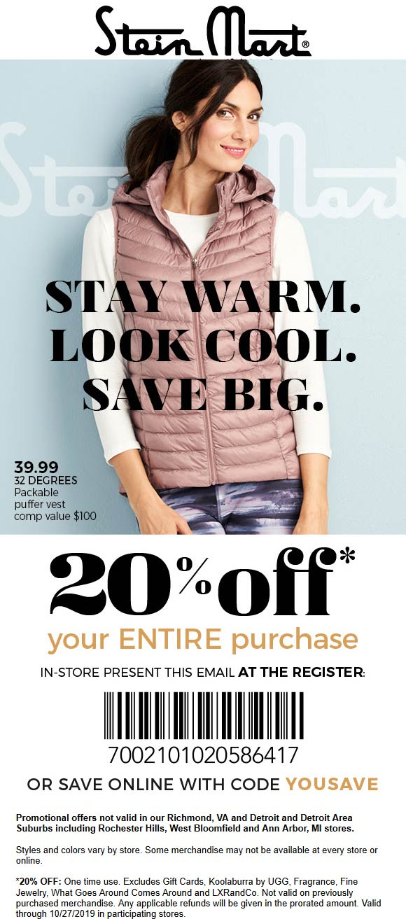 Stein Mart Coupon January 2020 20% off at Stein Mart, or online via promo code YOUSAVE