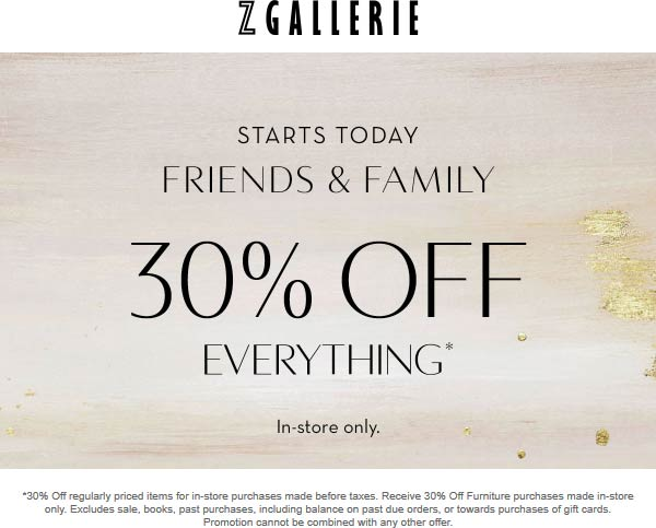 Z Gallerie Coupon November 2019 30% off everything at Z Gallerie
