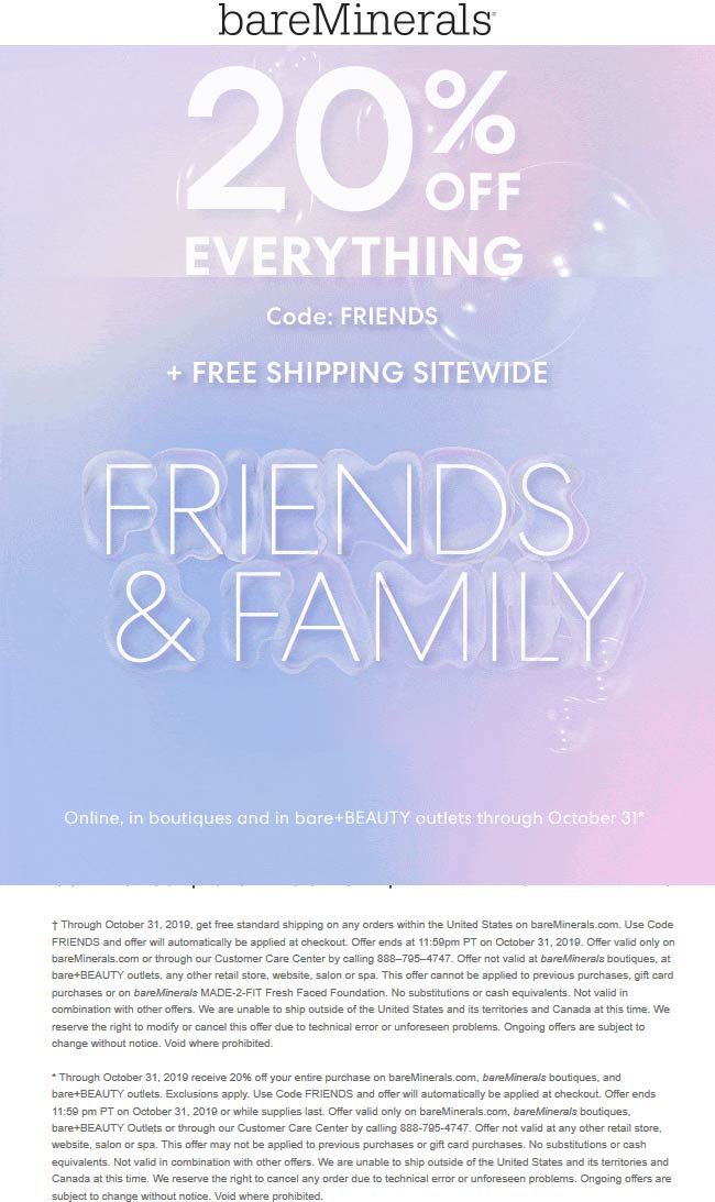 bareMinerals Coupon January 2020 20% off everything at bareMinerals, or online via promo code FRIENDS
