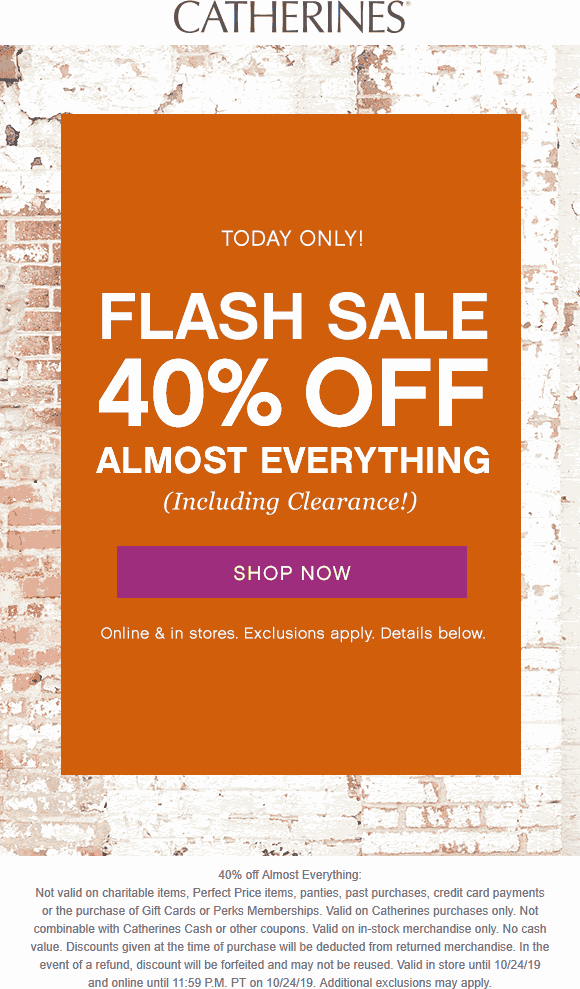 Catherines Coupon November 2019 40% off everything today at Catherines, ditto online