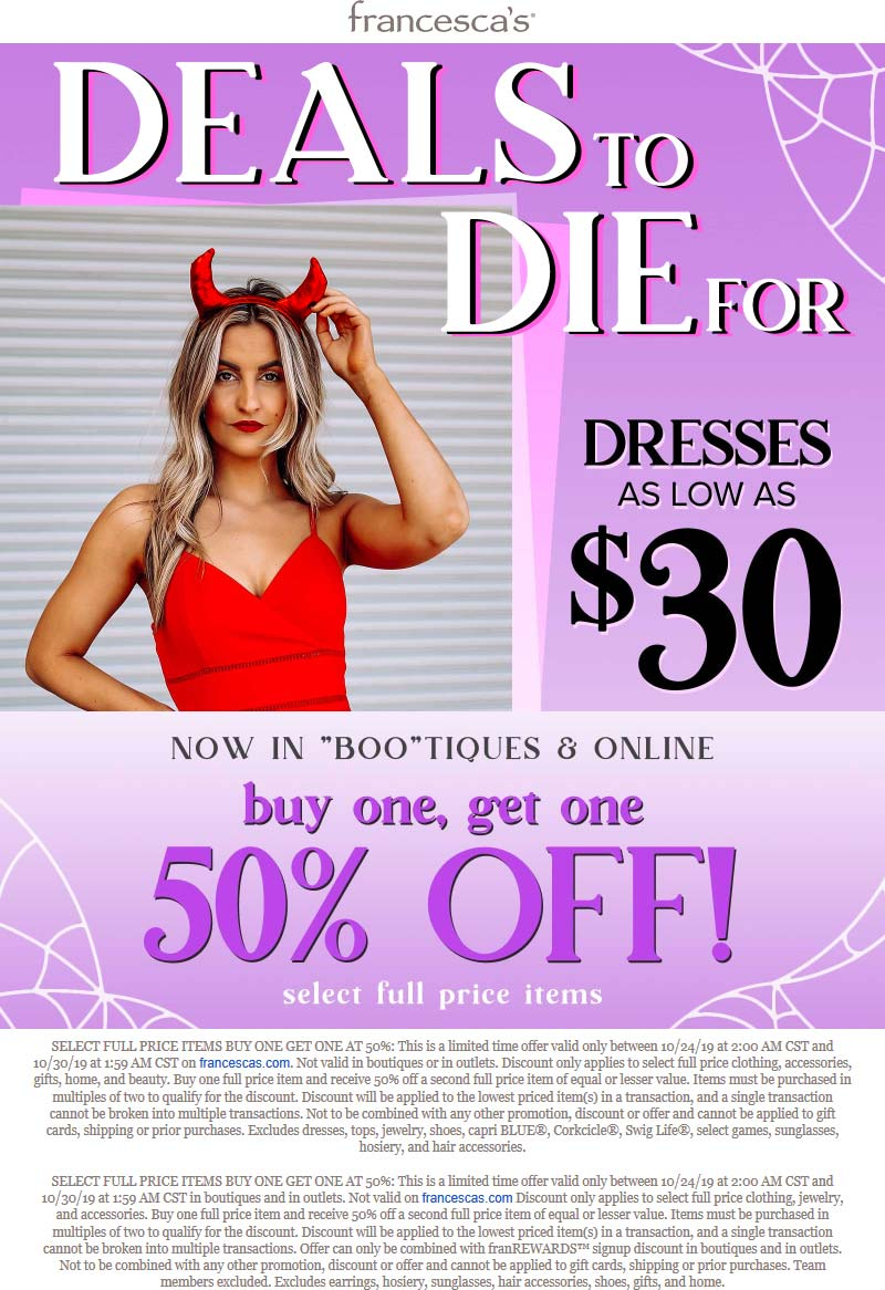 Francescas Coupon January 2020 Second item 50% off at Francescas, ditto online