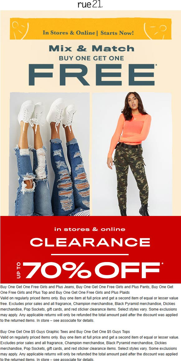 Rue21 Coupon November 2019 Second item free at rue21, ditto online