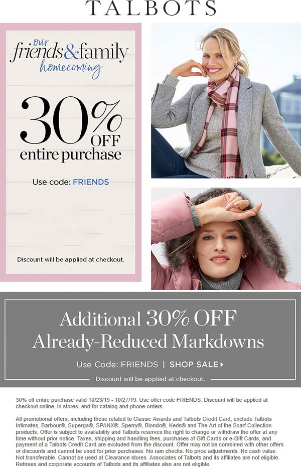 Talbots Coupon January 2020 30% off at Talbots, or online via promo code FRIENDS