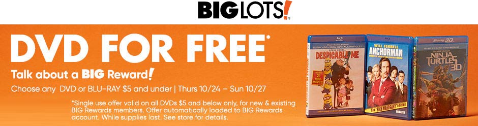 Big Lots Coupon November 2019 Free bluray DVD at Big Lots