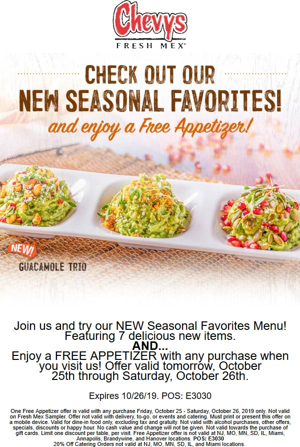 Chevys Coupon November 2019 Free appetizer with any order at Chevys Fresh Mex