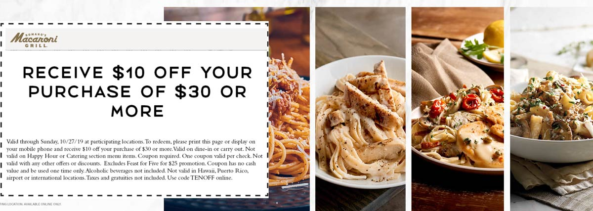 Macaroni Grill Coupon January 2020 $10 off $30 at Macaroni Grill restaurants