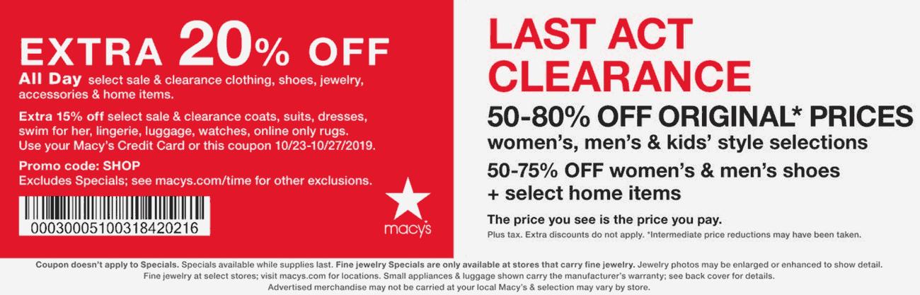 Macys Coupon November 2019 Extra 20% off at Macys, or online via promo code SHOP