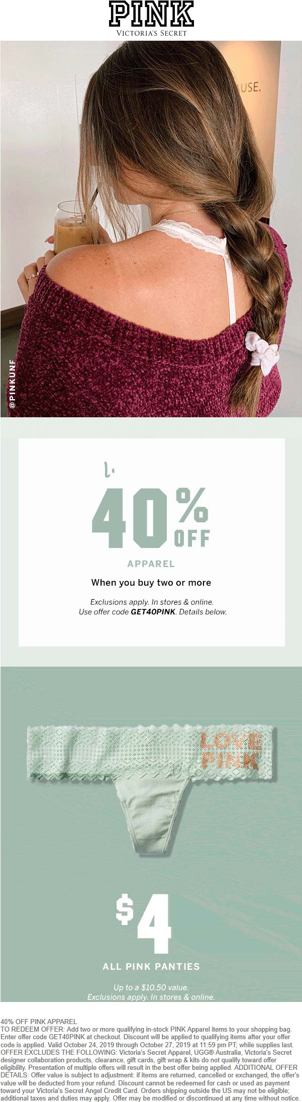 PINK Coupon November 2019 40% off at PINK, or online via promo code GET40PINK