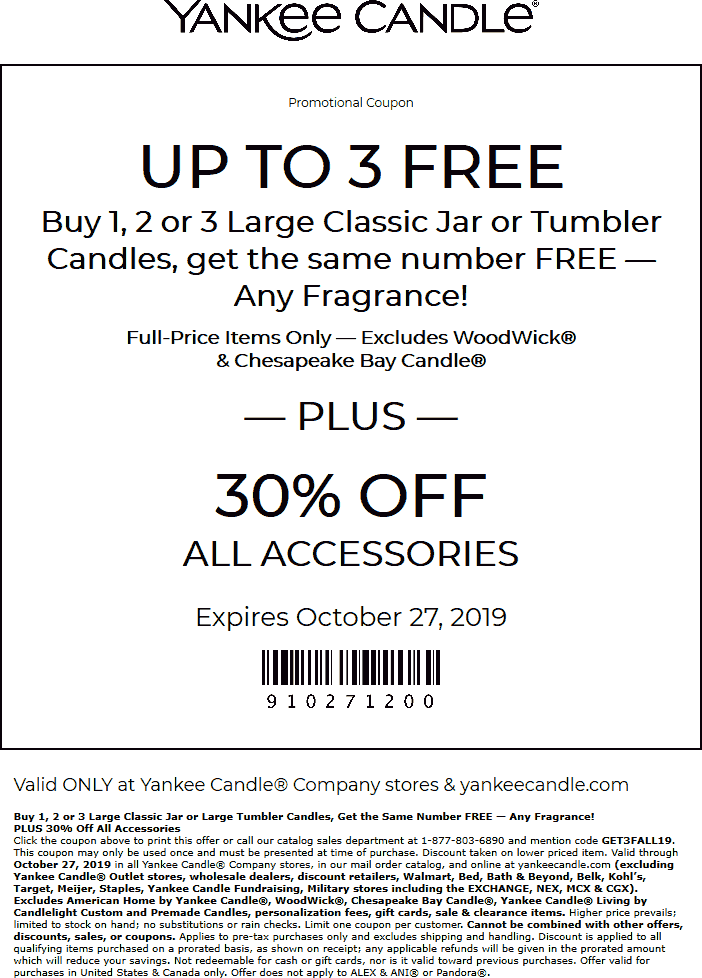 Yankee Candle Coupon January 2020 Second candle free at Yankee Candle, or online via promo code GET3FALL19
