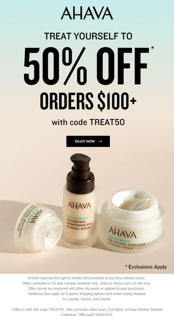 AHAVA Coupon November 2019 50% off $100 at AHAVA via promo code TREAT50