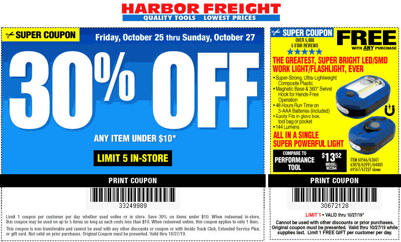 Harbor Freight Tools Coupon November 2019 30% off sub-$10 items at Harbor Freight Tools