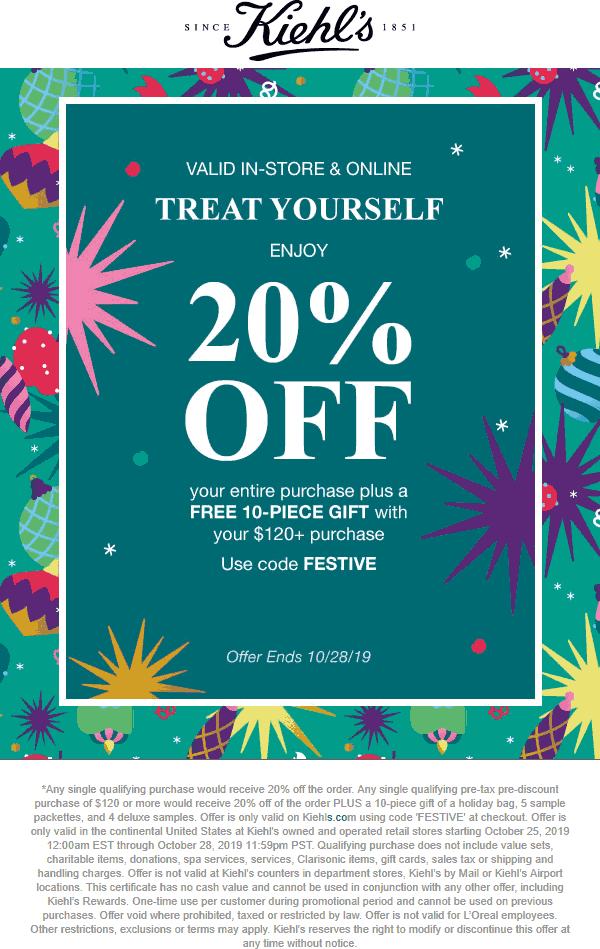 Kiehls Coupon January 2020 20% off & more at Kiehls, or online via promo code FESTIVE