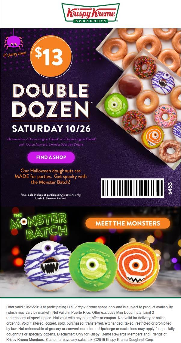 Krispy Kreme Coupon November 2019 2 dozen doughnuts for $13 today at Krispy Kreme