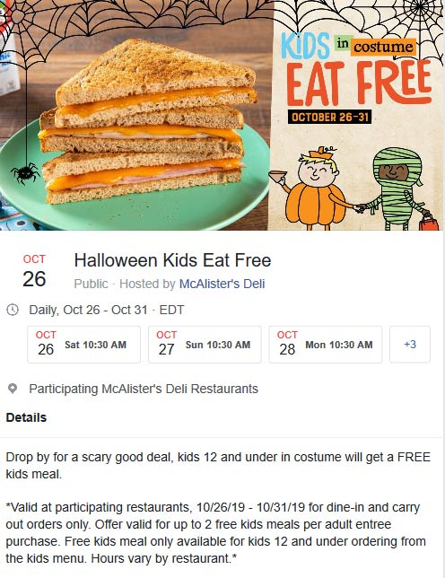 McAlisters Deli Coupon November 2019 Kids in costume eat free at McAlisters Deli