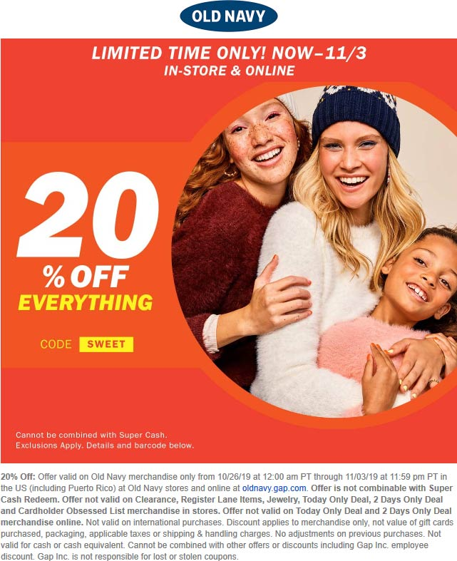 Old Navy Coupon November 2019 20% off at Old Navy, or online via promo code SWEET