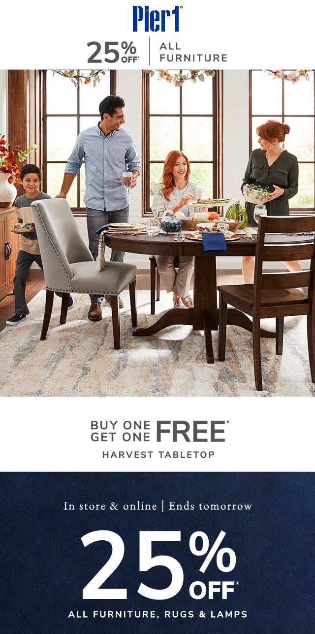 Pier 1 Coupon January 2020 25% off furniture rugs & lamps at Pier 1, ditto online