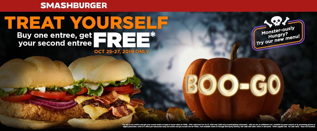 Smashburger Coupon January 2020 Second entree free at Smashburger