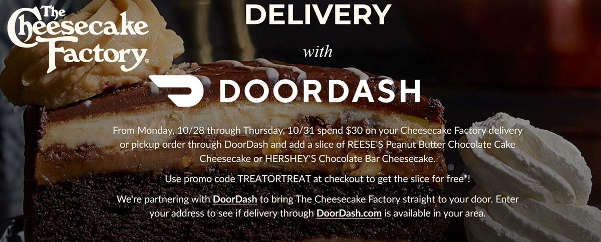 The Cheesecake Factory Coupon January 2020 Free slice with $30 in delivery from The Cheesecake Factory