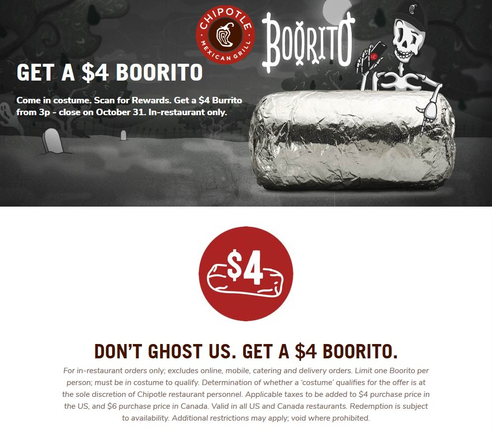 Chipotle Coupon January 2020 $4 burrito Thursday at Chipotle restaurants