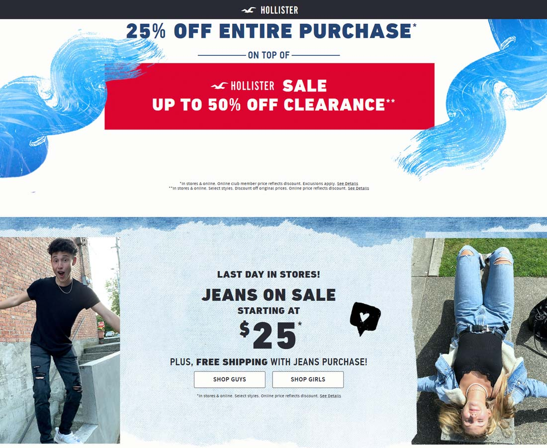 Hollister Coupon January 2020 25% off everything today at Hollister, ditto online