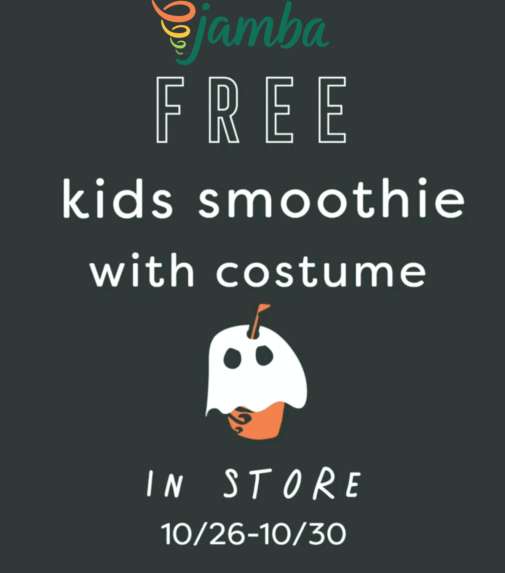 Jamba Juice Coupon November 2019 Free kids smoothie in costume at Jamba Juice