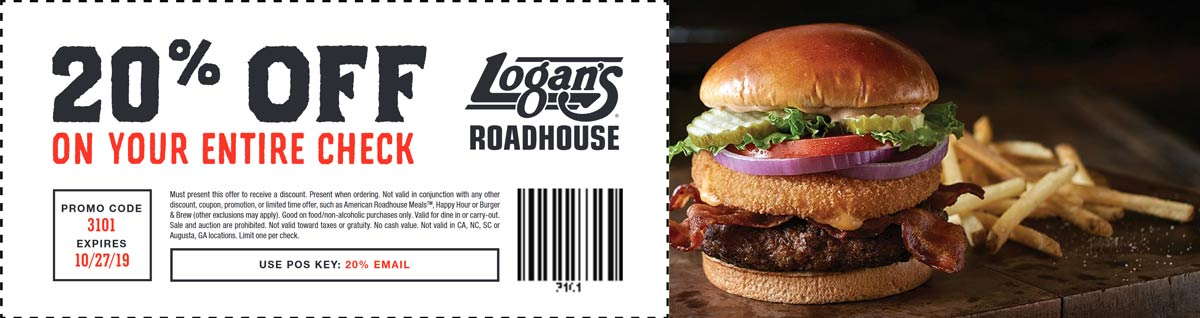 Logans Roadhouse Coupon November 2019 20% off today at Logans Roadhouse restaurants