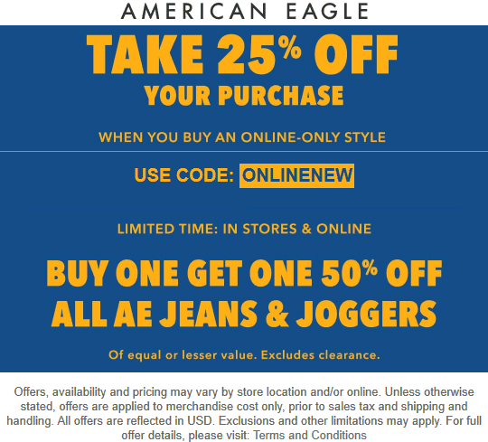 American Eagle Coupon November 2019 Second jeans 50% off & more today at American Eagle, ditto online