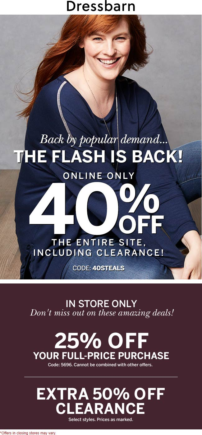 Dressbarn Coupon January 2020 25% off at Dressbarn, or 40% off everything online via promo code 40STEALS