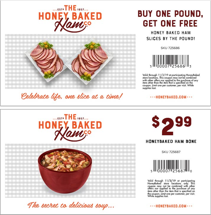 HoneyBaked Coupon November 2019 Second lb free at Honeybaked Ham restaurants